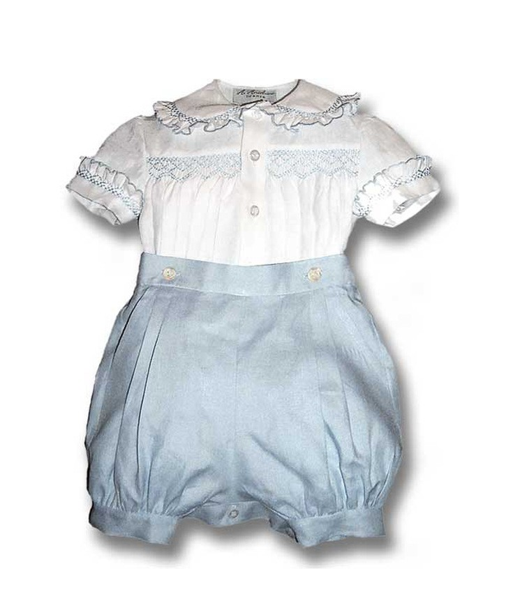 Baby Boy Outfit Puff Pants And Smocked Shirt Ippolito