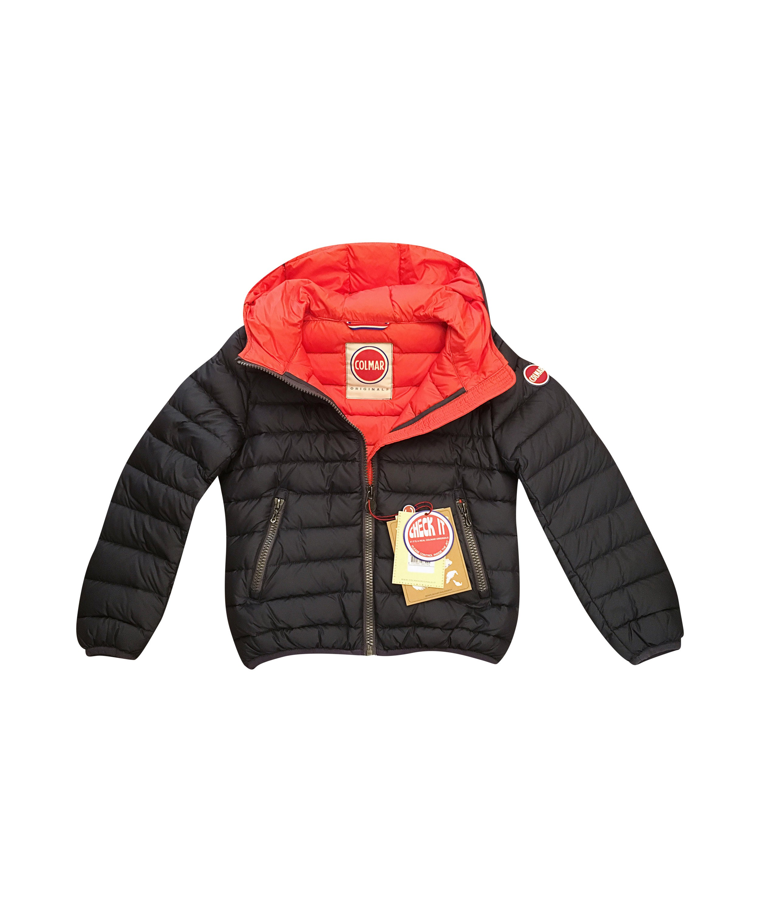 Boy navy blue/red lined Colmar down jacket