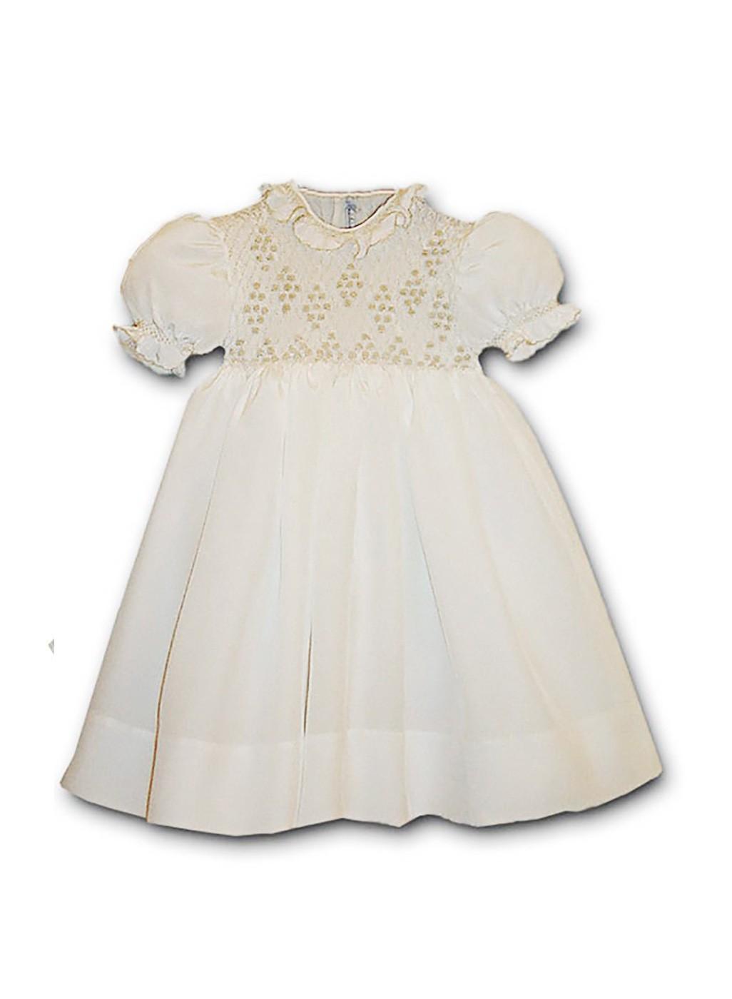 Aurelia abito bambina crepe di seta con smock