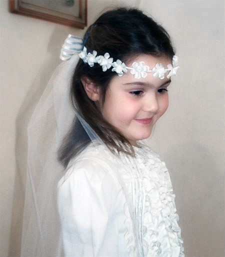 Moon first communion veil