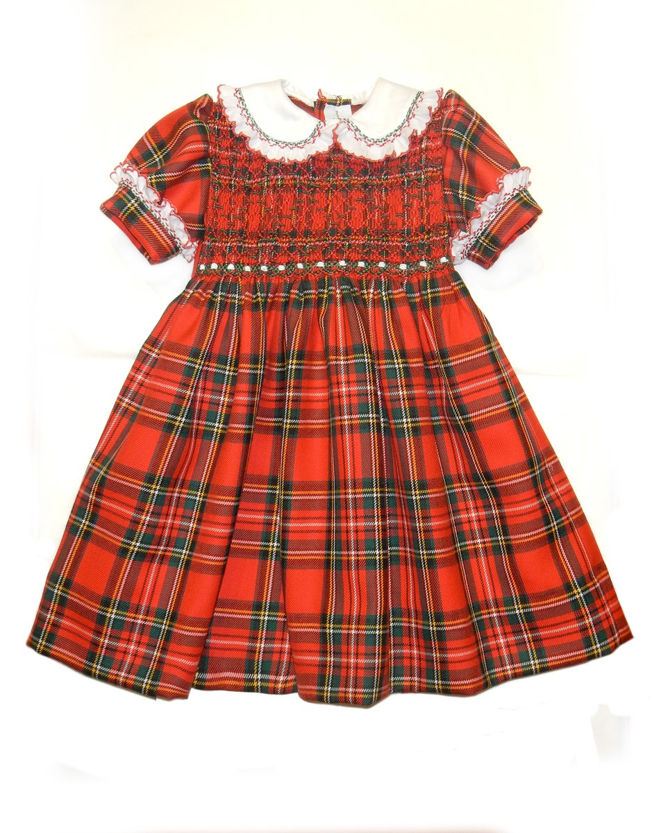 Rebecca girl plaid smocked dress