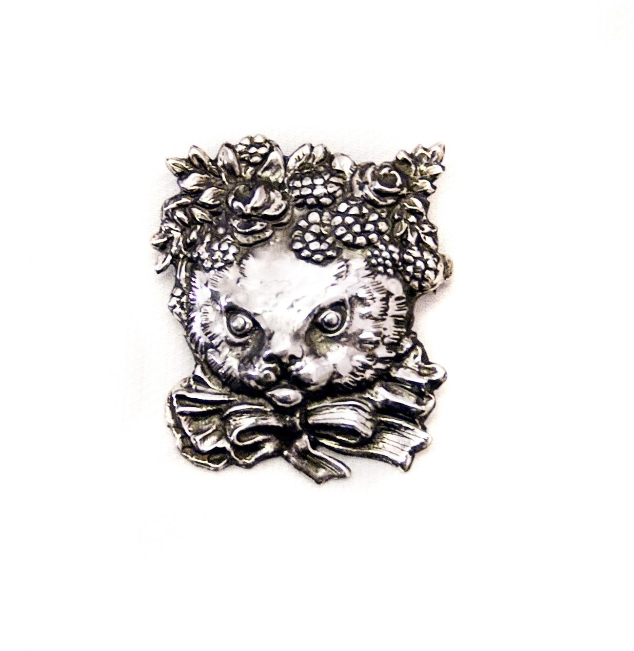 "Silver brooch ""Yuko Cat"""