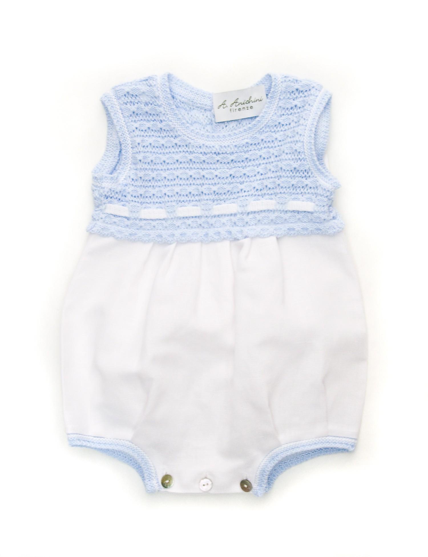 Pagliaccetto baby smanicato in lino e cotone