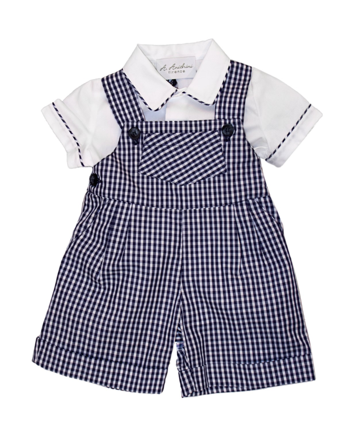 Baby navy checks dungaree with matching shirt