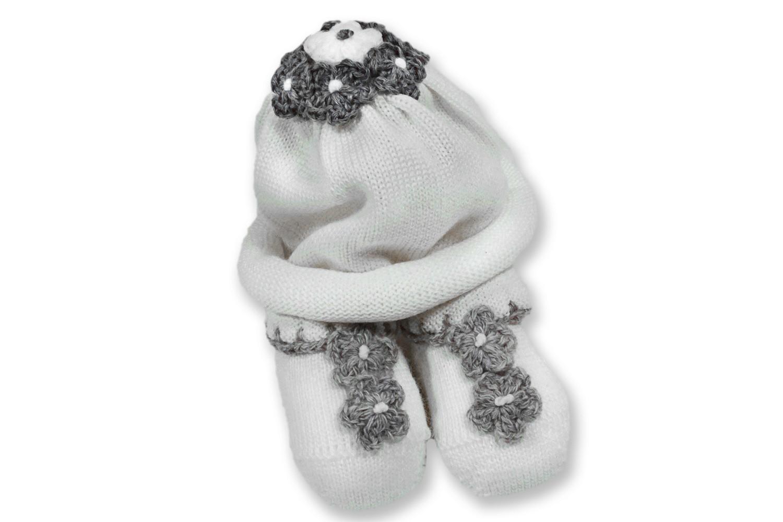 Set cappello e scarpe neonata fiorellini