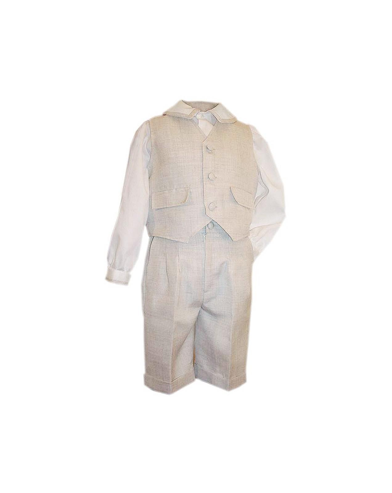 Teo completo elegante per bambino pantalone, camicia e gilet