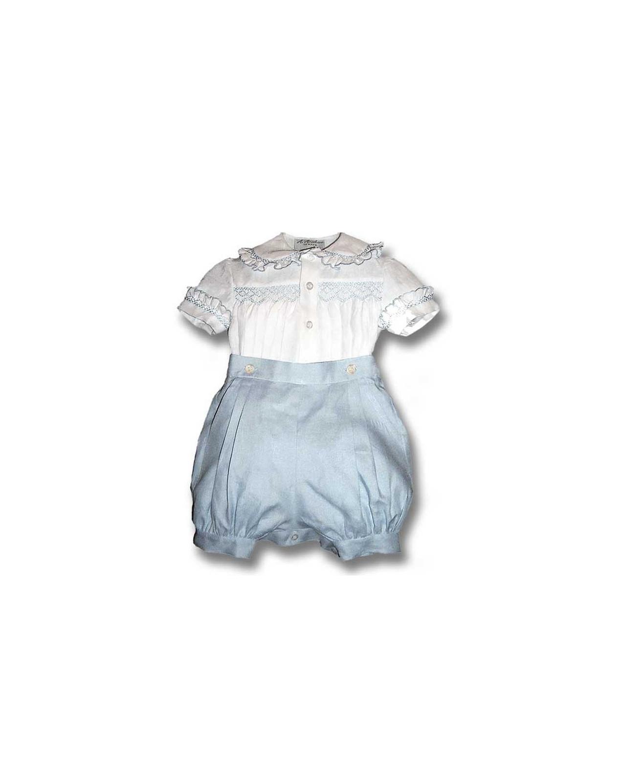 completino per baby pantaloncino a sbuffo e camicetta punto smock Ippolito