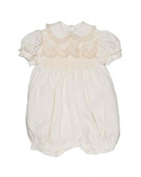 Achillea baby Christening silk romper