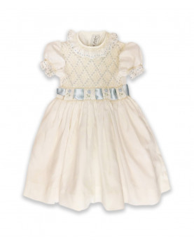 Mafalda, girl smocked party dress, cream and pale blue.