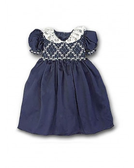Giocasta girl smocked dress with valancienne lace collar