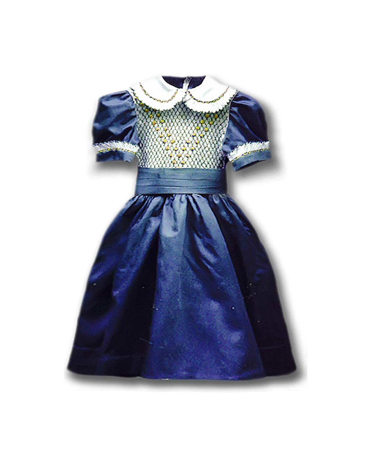 Very elegant dress smocked dress, with belt and bow in the back ,Diana