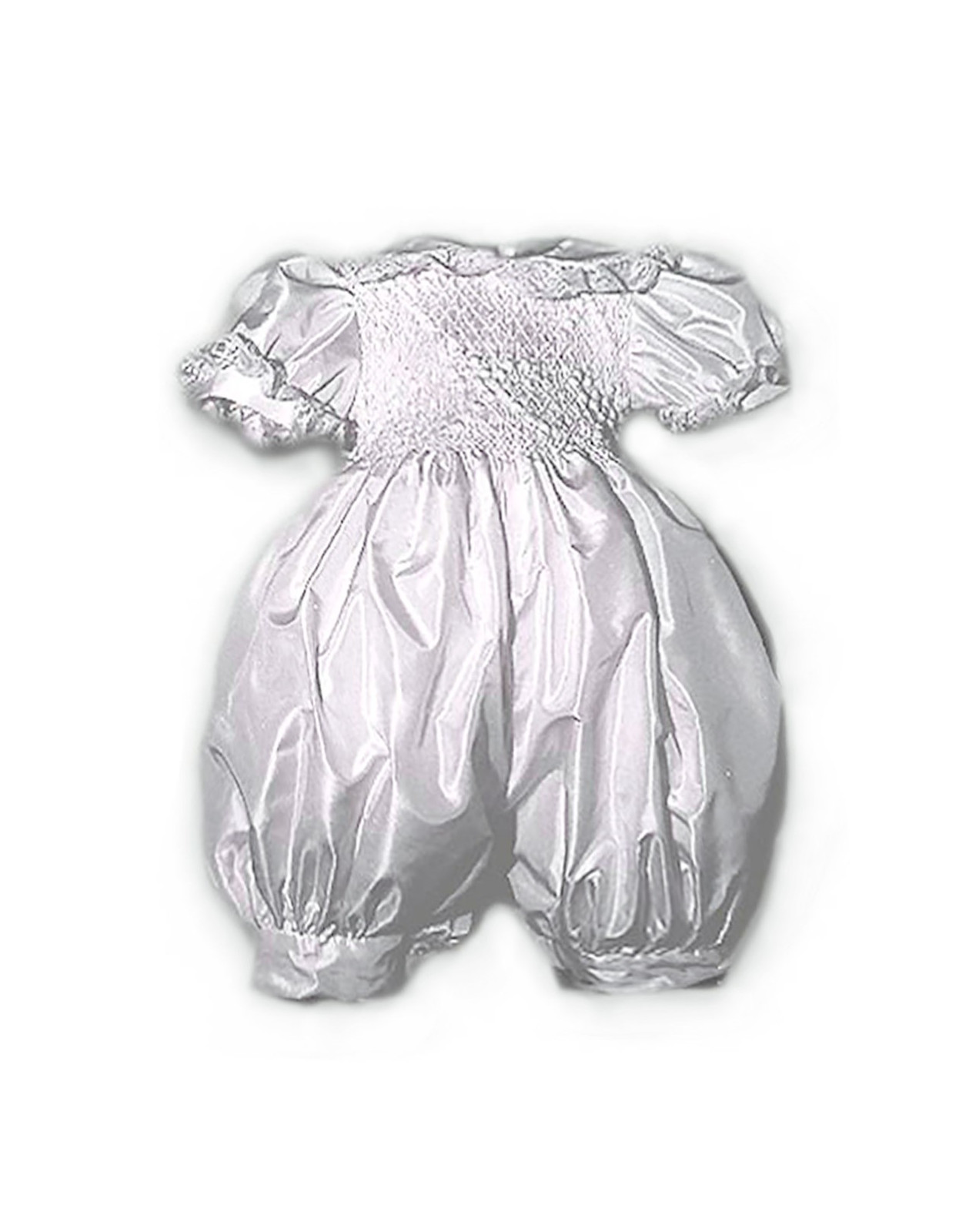 Christening romper with smocked bowsVieri