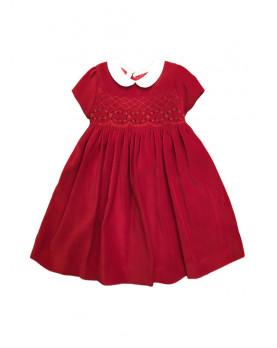Eloisa abito velluto rosso con smock bambina