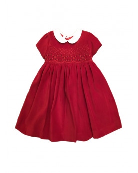 girl red velvet smocked dress Eloisa