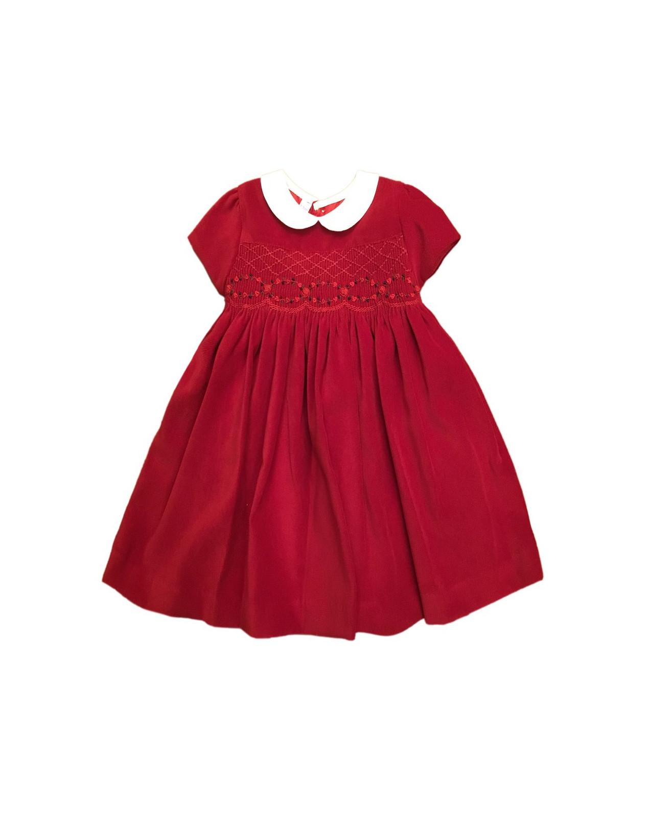 multiple colors 8cd5e f3ded Un abito per bambina , con punto smock velluto rosso,