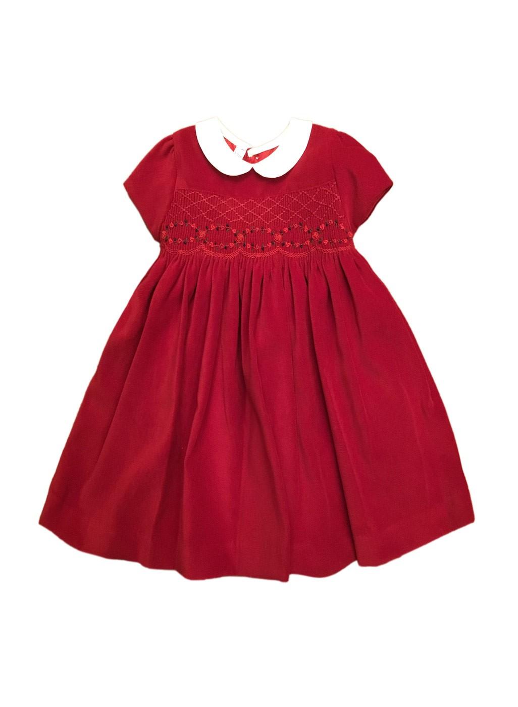 multiple colors 66b12 7aba1 Un abito per bambina , con punto smock velluto rosso,
