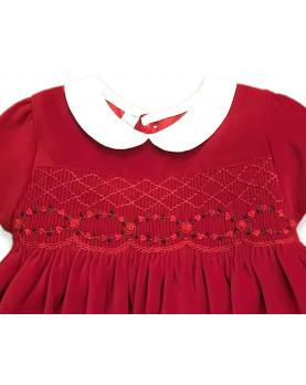 girl red velvet smocked dress Eloisa