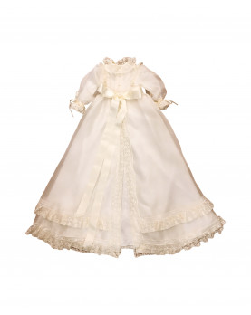 Sunflower embroidered christening gown back