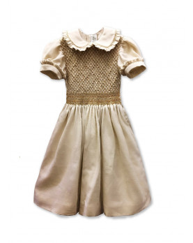 Peggy gold and silver smocked dress