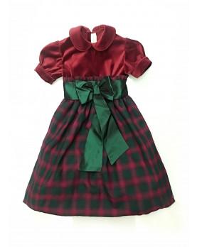 Petunia party dress velvet and plaid tartan