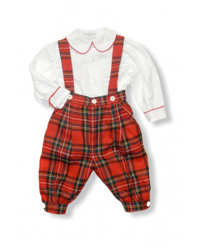 Leonardo boy's outfit with knickeboker pants, red tartan
