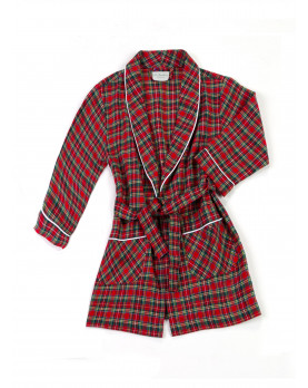 Cotton flannel boy dressing gown red plaid