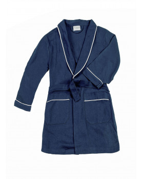 Cotton flannel boy dressing gown navy blue.