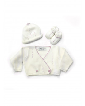 set di maglia per neonato rosa