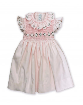 Chloris, girl cup sleeves dress, with daisies embroideries.