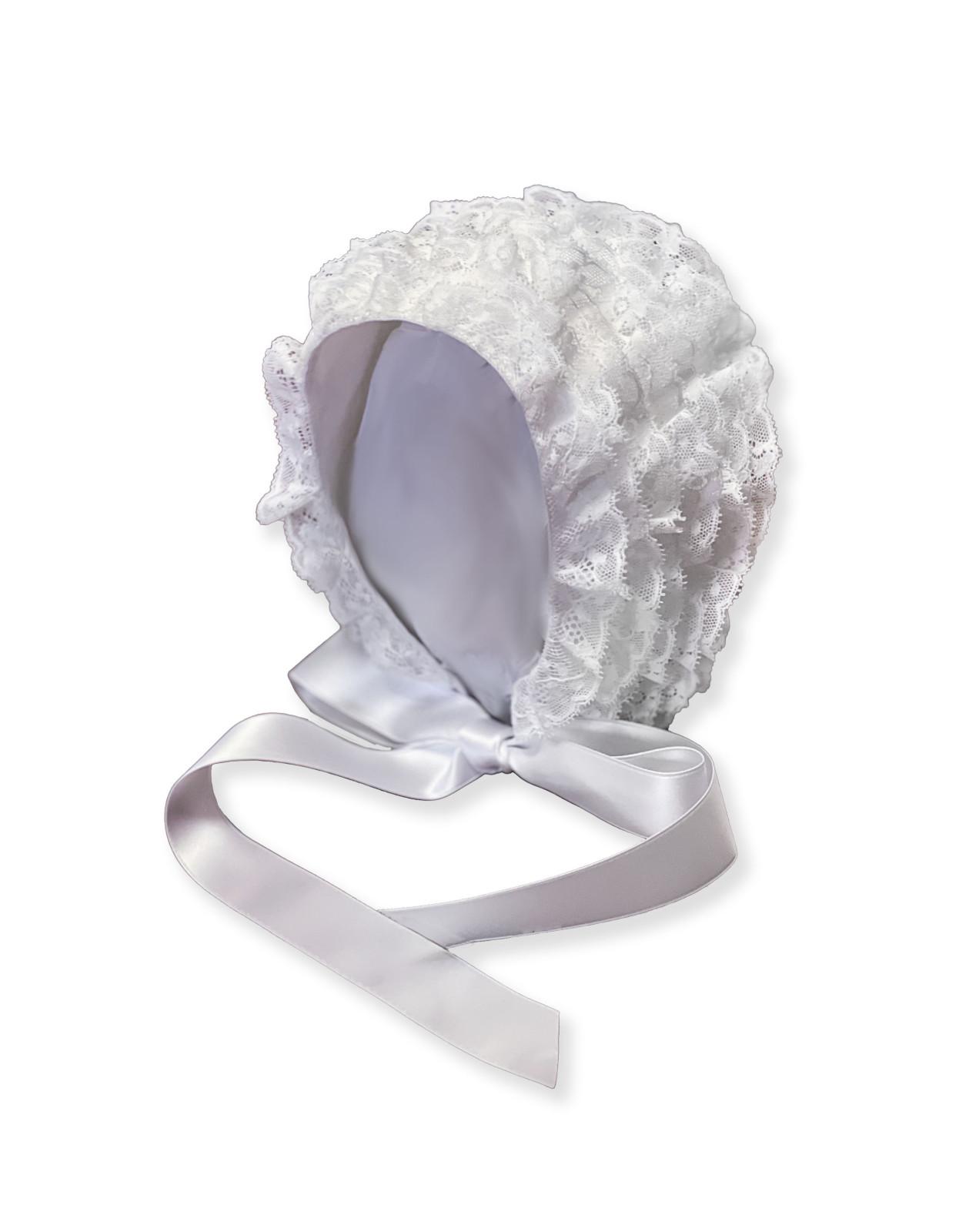 Laces Valencienne plain baby bonnet