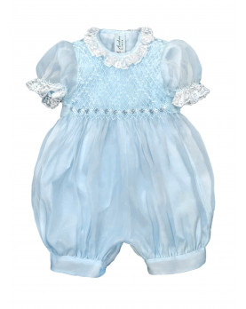 Christening silk romper with smocked bodice, pale blue organdis.