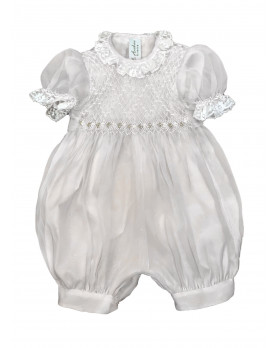 Christening silk organdis whote romper with smocked bodice