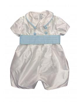 Baby boy christening and baptismal romper blue belt