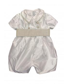 Pagliaccetto battesimo per bambino Archie cintura crema