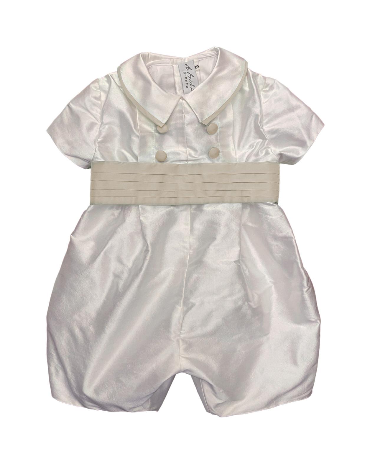 Baby boy christening and baptismal romper cream belt