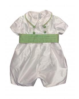 Baby boy christening and baptismal romper green belt