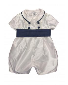 Baby boy christening and baptismal romper navy belt