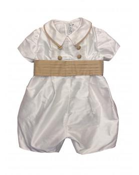 Baby boy christening and baptismal romper camel belt