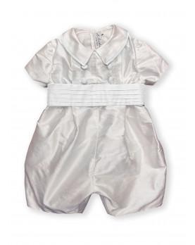 Baby boy christening and baptismal romper White