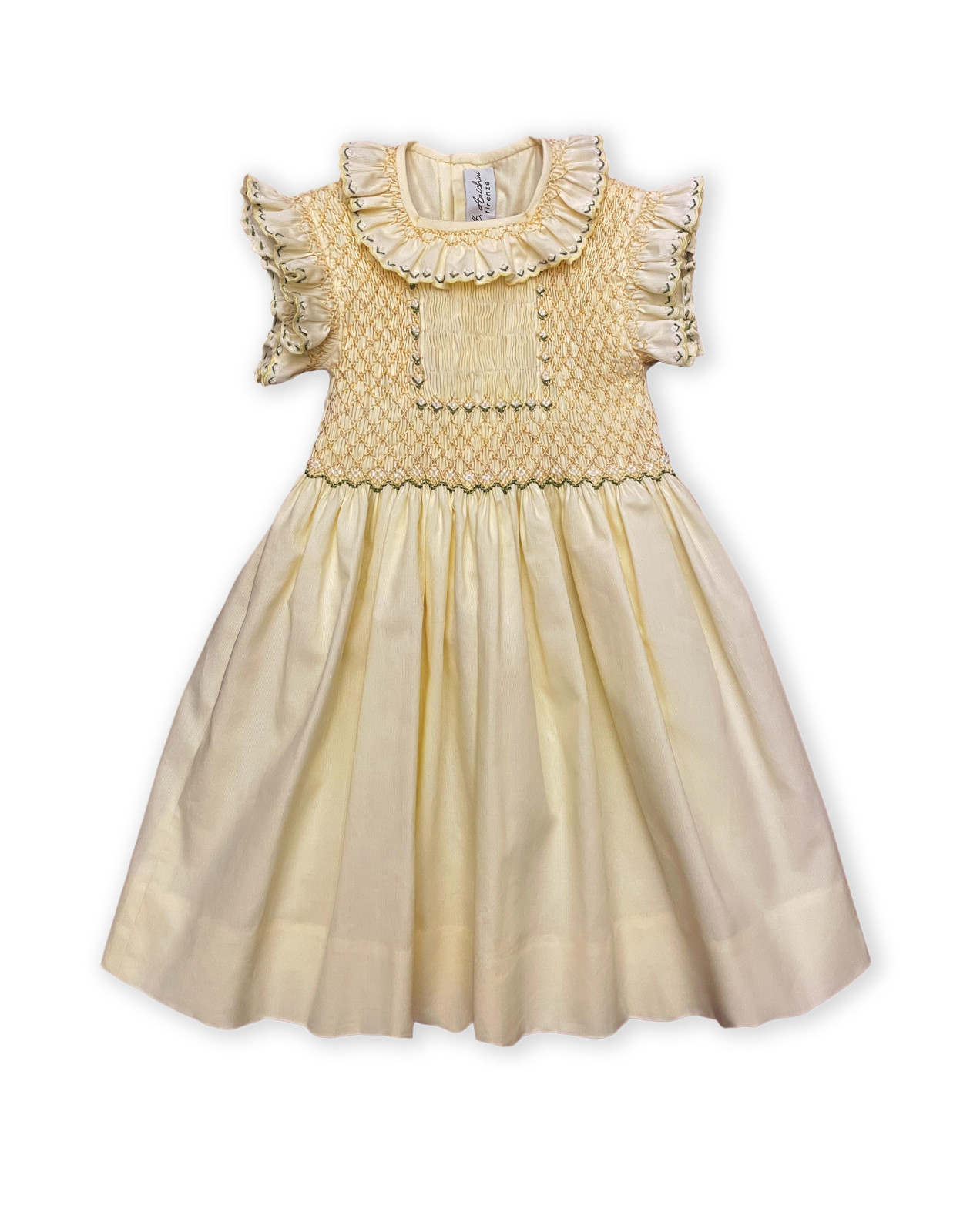 Maria sole abito per bambino con smock giallo