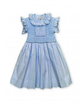 Maria sole abito per bambino con smock celeste