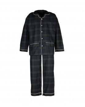 Boy Pajamas in navy and green plaid 100% cotton flannel.