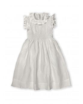 Maria sole abito per bambina con smock in lino bianco