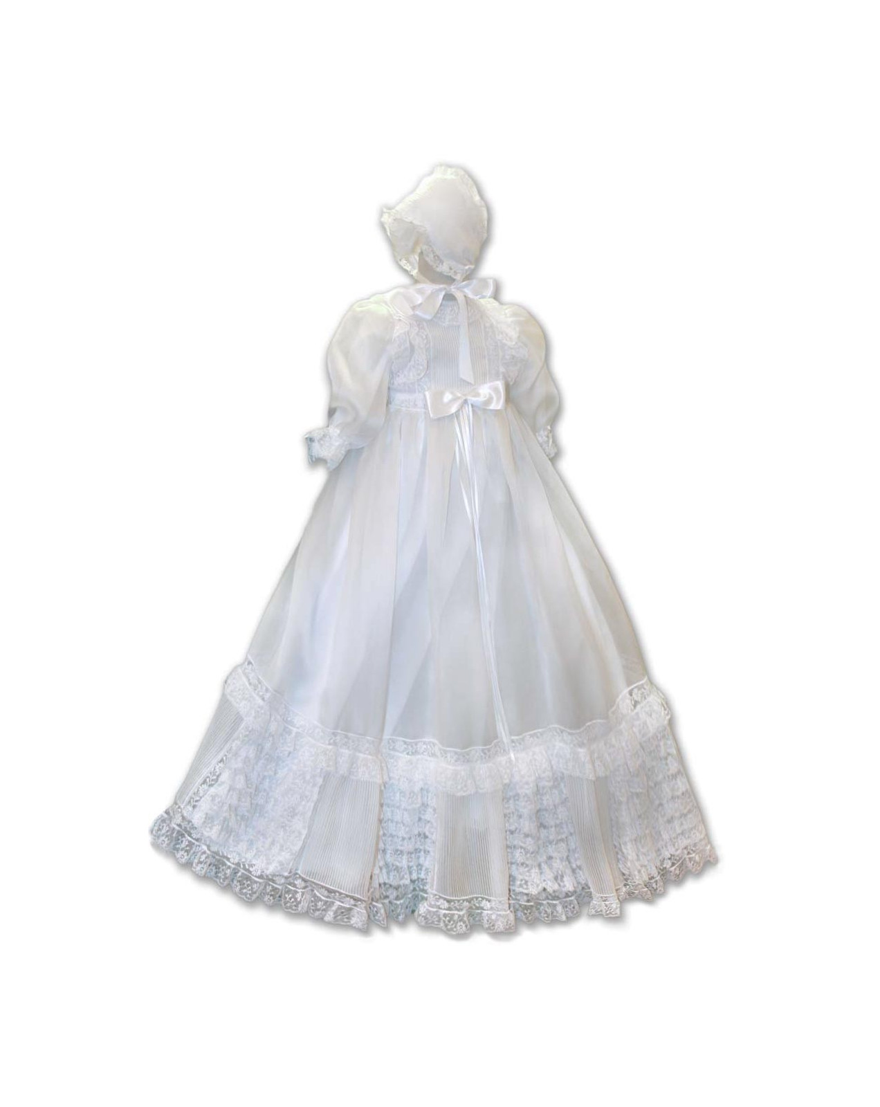 Anemone magnificent Valancienne laces christening gown