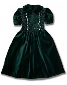 Conny green, girl's velvet party dress with smock