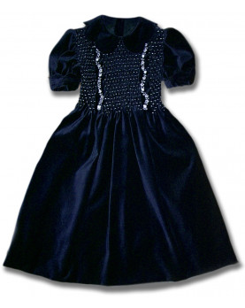 Conny navy blue, girl's velvet party dress with smock