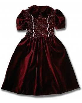 Conny bordeaux, girl's velvet party dress with smock