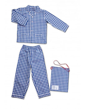 Children pajamas in pure cotton gingham fabric