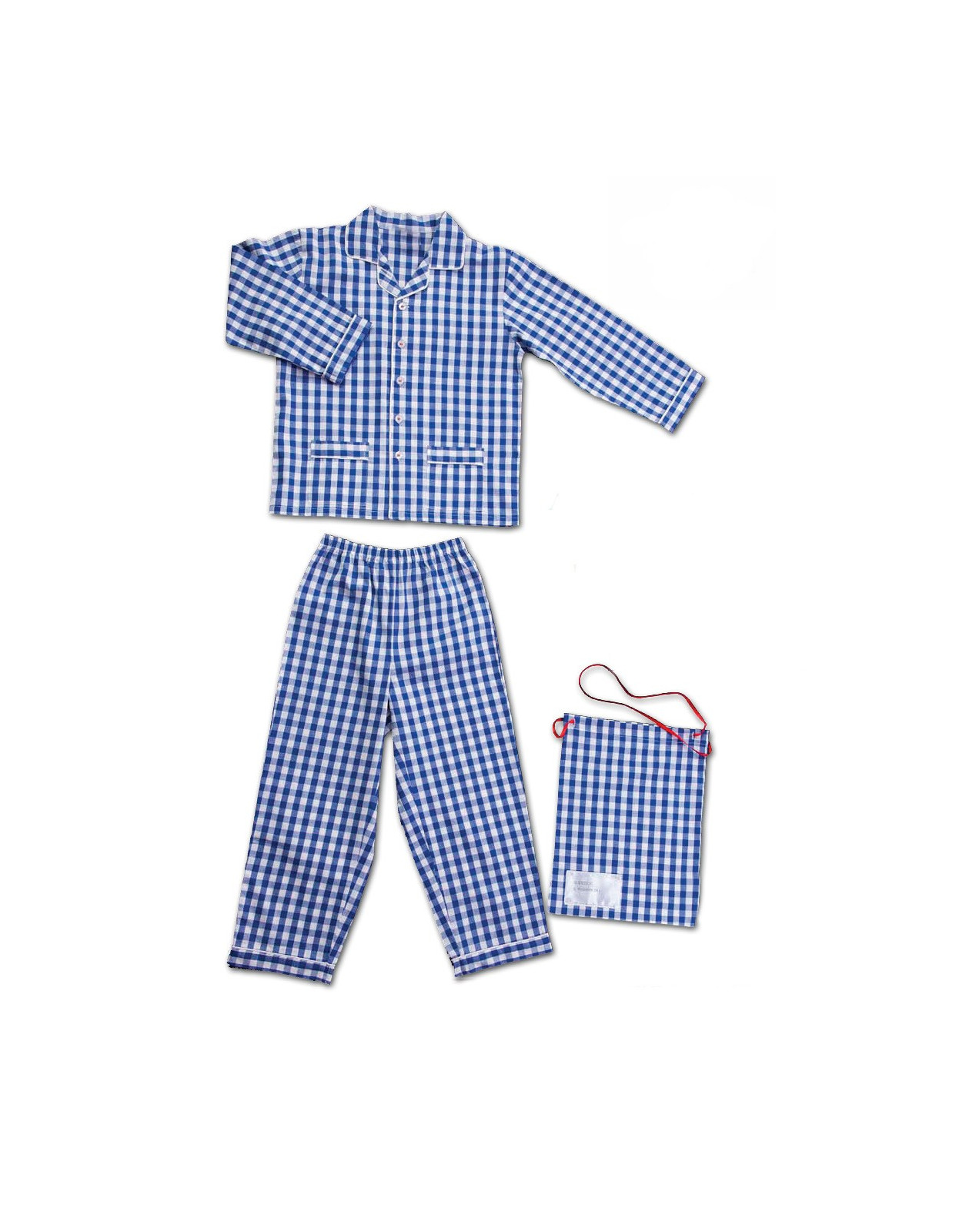Children pajamas in pure cotton gingham fabric
