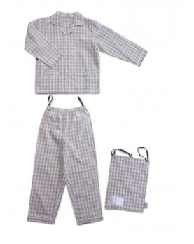 Pajamas for children in pure cotton gray gingham